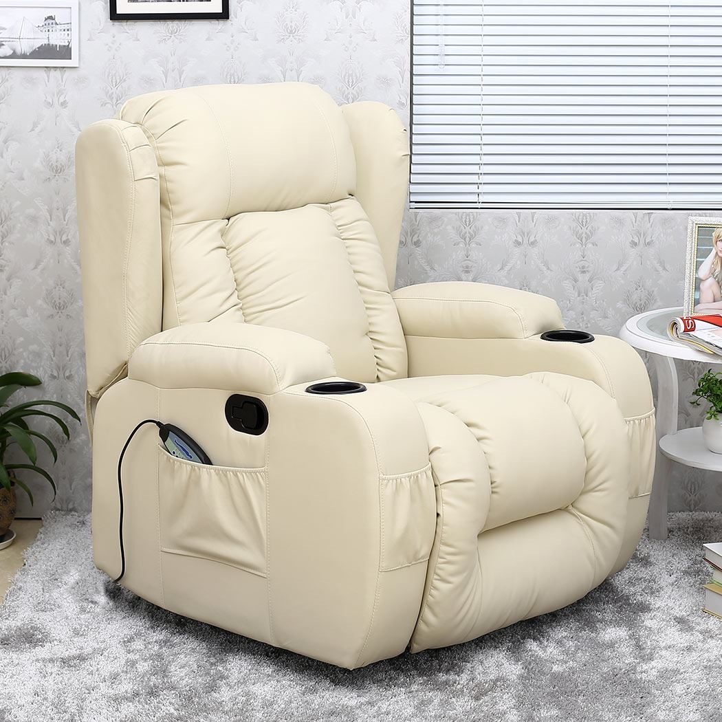 CAESAR 10 IN 1 WINGED LEATHER RECLINER CHAIR