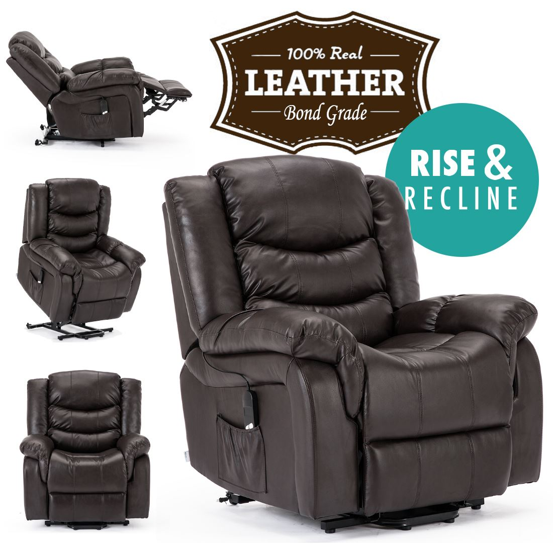 Leather Electric Recliner Sofa Uk: SEATTLE ELECTRIC RISE REAL LEATHER RECLINER ARMCHAIR SOFA