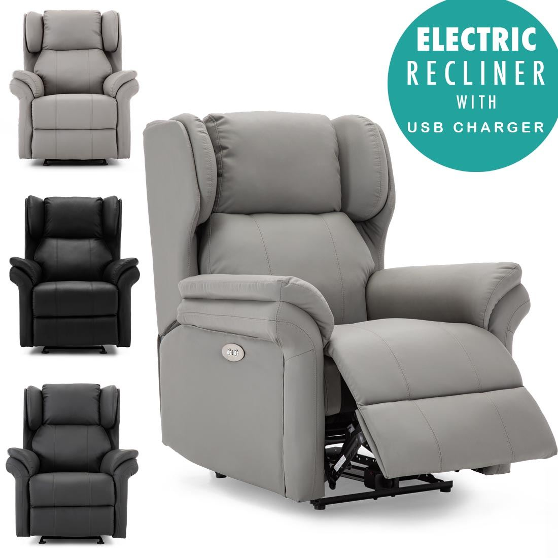 Picture of: Oakford Electric Bonded Leather Auto Recliner Wing Back Lounge Chair With Usb Ebay