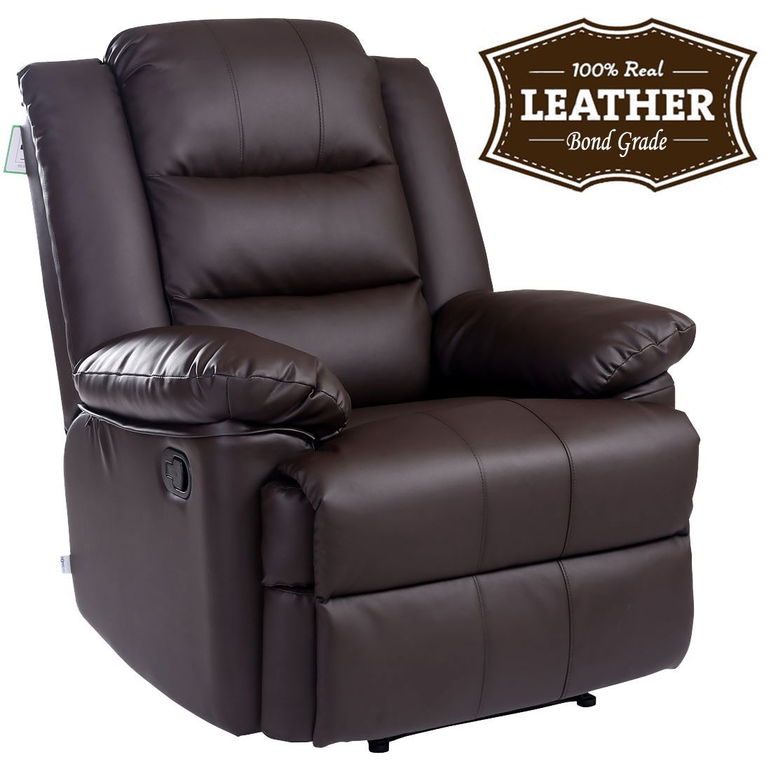 grove product shipping leather recliner chestnut hoffman free today overstock copper home bonded garden