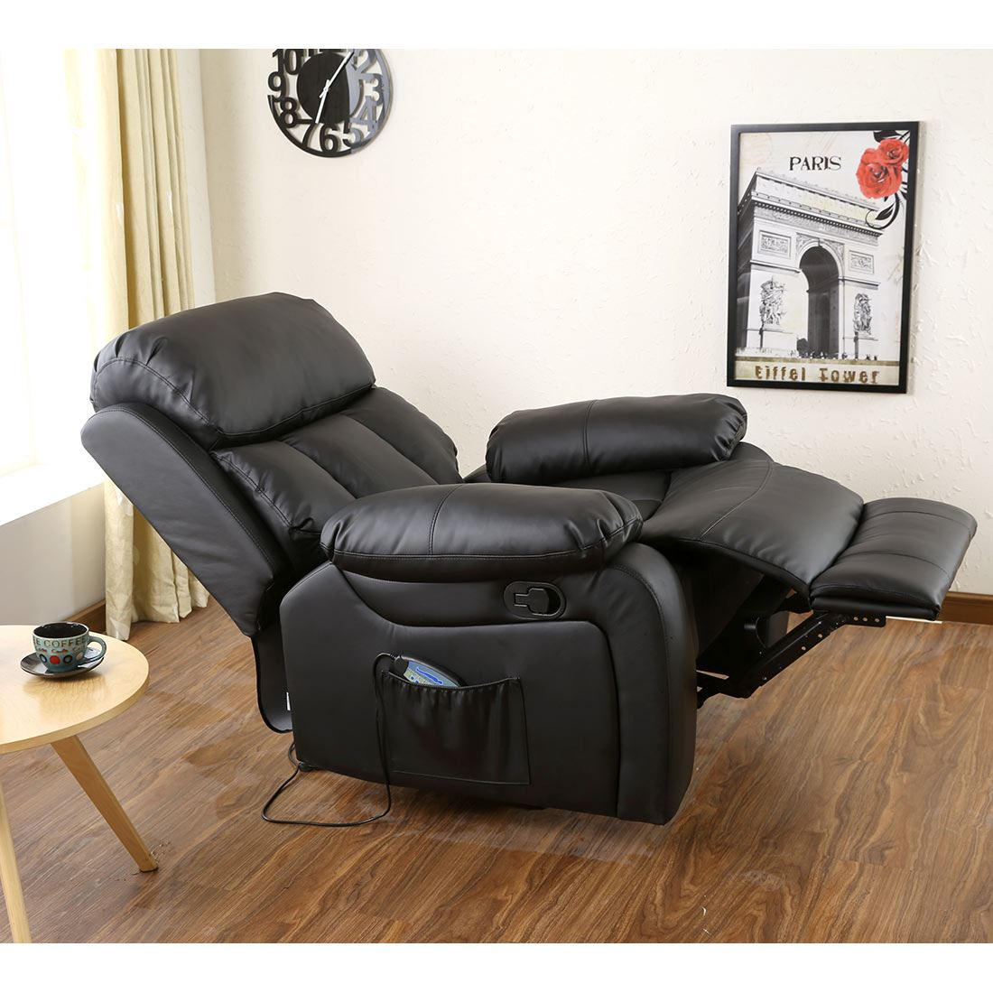 Awesome CHESTER HEATED LEATHER MASSAGE RECLINER CHAIR SOFA LOUNGE