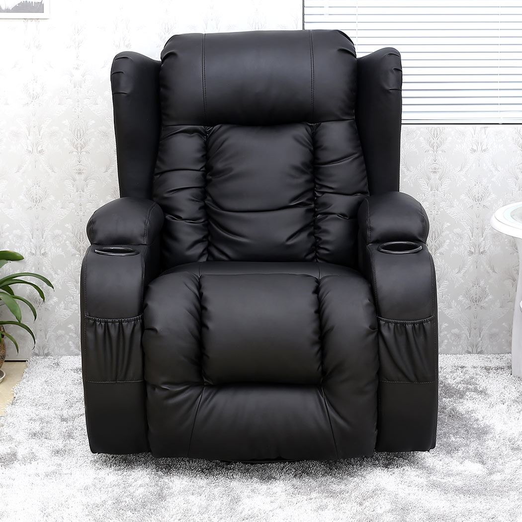 Details about CAESAR 10 IN 1 WINGED LEATHER RECLINER CHAIR ROCKING MASSAGE SWIVEL HEATED