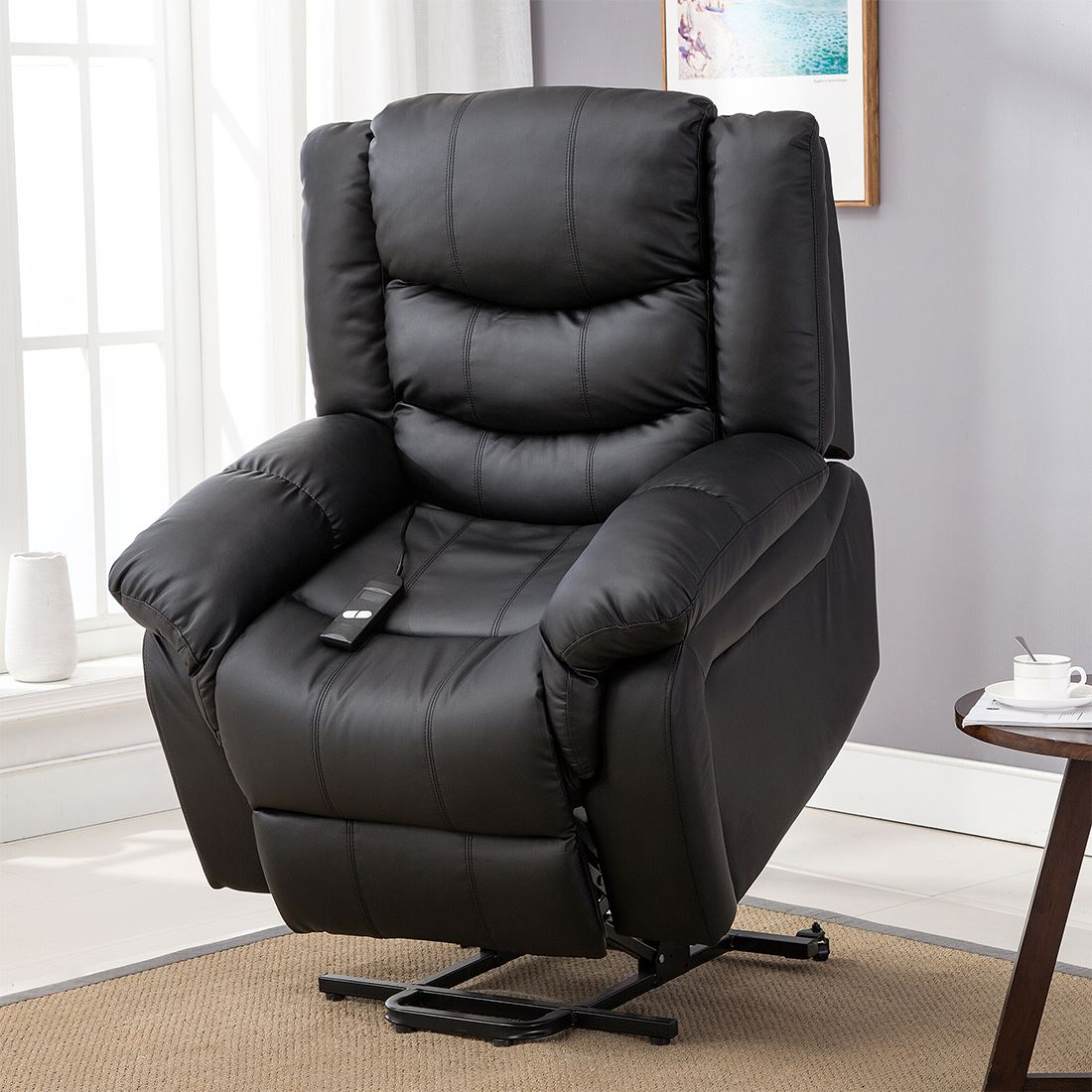 SEATTLE-ELECTRIC-RISE-REAL-LEATHER-RECLINER-ARMCHAIR-SOFA-HOME-LOUNGE-CHAIR thumbnail 3