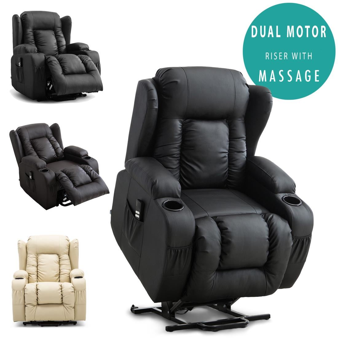 Strange Details About Caesar Dual Motor Riser Recliner Leather Mobility Armchair Massage Heated Chair Gmtry Best Dining Table And Chair Ideas Images Gmtryco