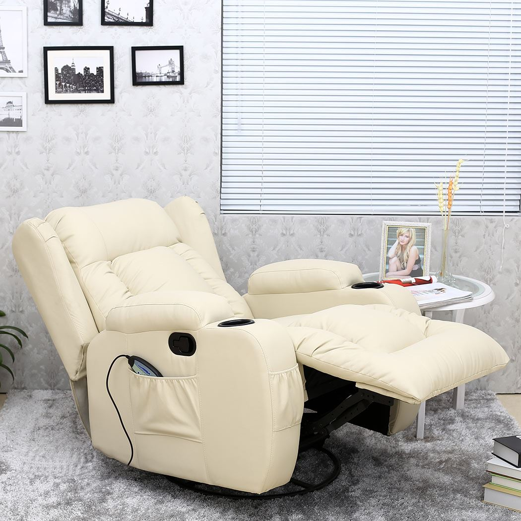 Caesar 10 In 1 Winged Leather Recliner Chair Rocking