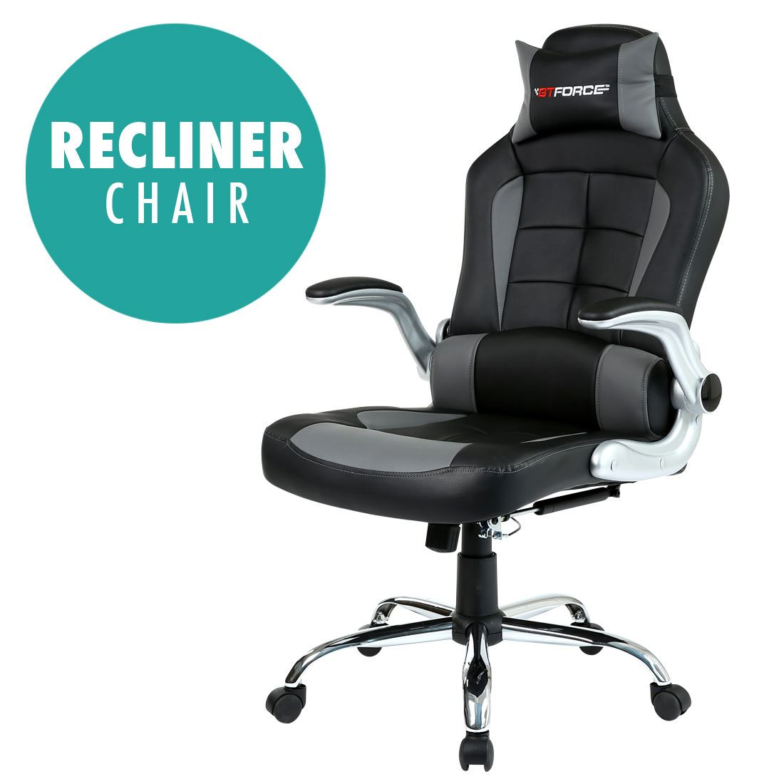 Details About Gtforce Blaze Reclining Leather Sports Racing Office Desk Chair Gaming Computer