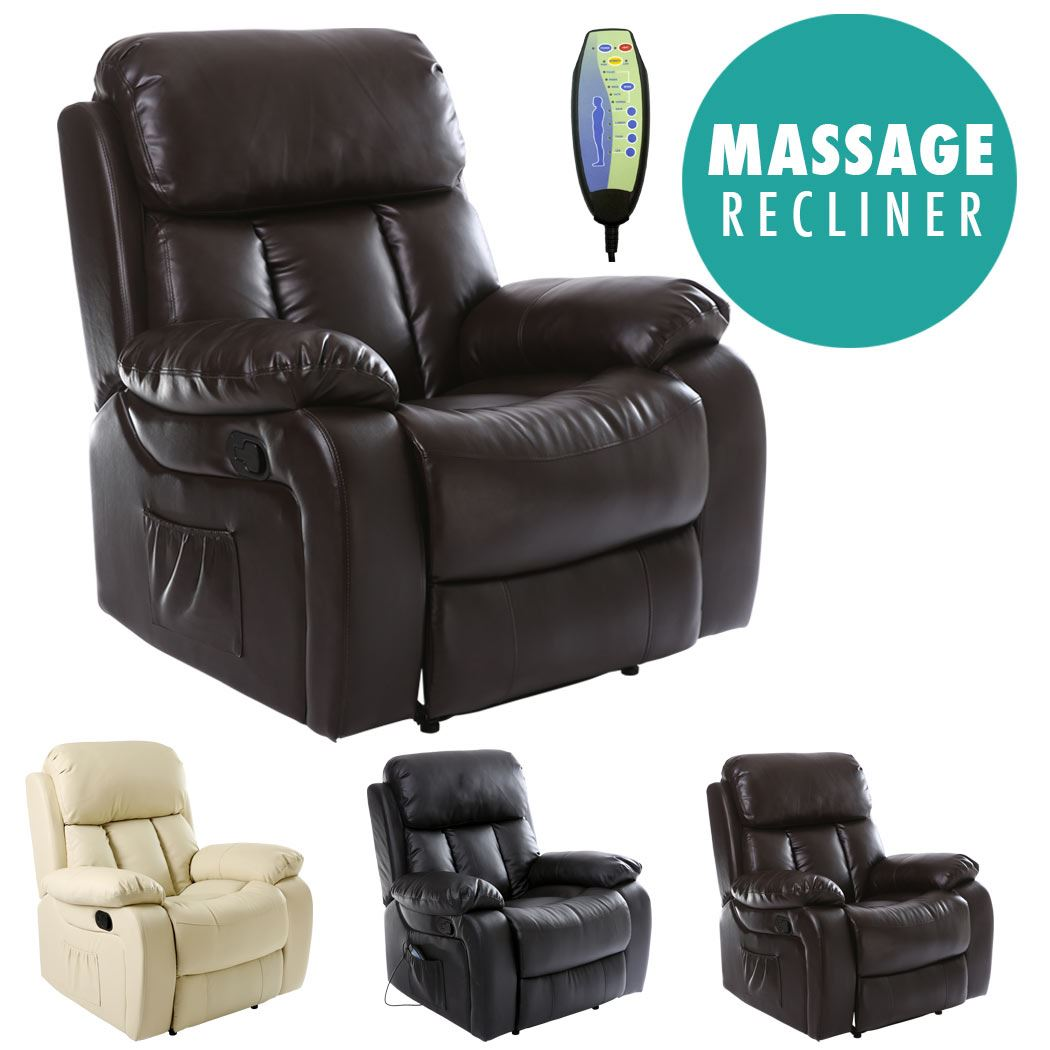 Fabulous Details About Chester Heated Leather Massage Recliner Chair Sofa Lounge Gaming Home Armchair Bralicious Painted Fabric Chair Ideas Braliciousco