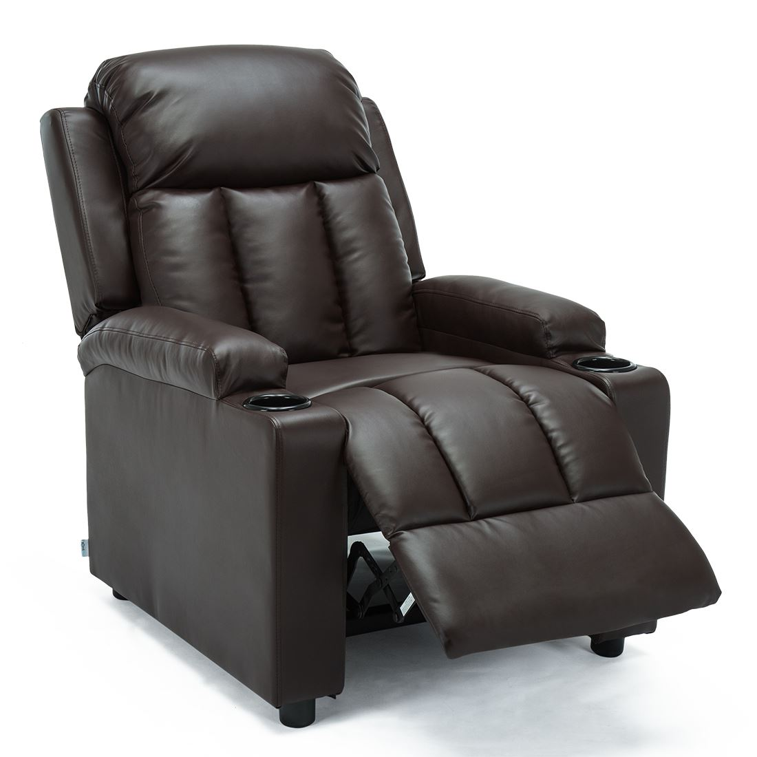 STUDIO-LEATHER-RECLINER-w-DRINK-HOLDERS-ARMCHAIR-SOFA-CHAIR-CINEMA-GAMING thumbnail 14