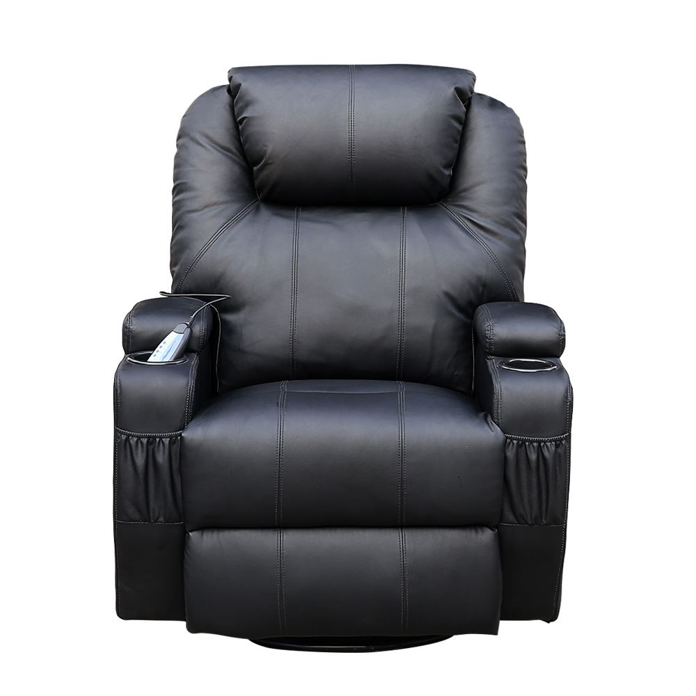 CINEMO BLACK LEATHER RECLINER CHAIR ROCKING MASSAGE SWIVEL HEATED ...