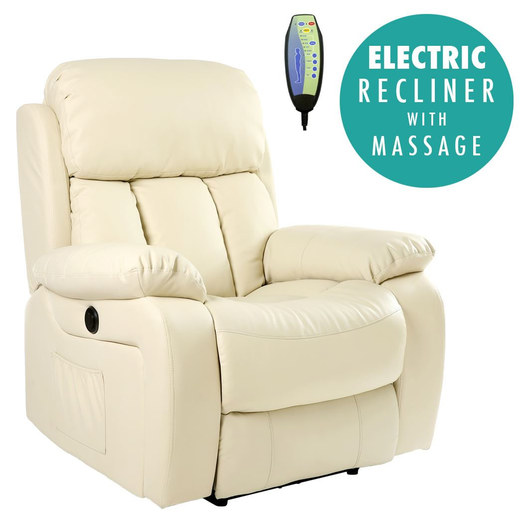 Surprising Chester Cream Electric Heated Leather Massage Power Recliner Chair Sofa Armchair Unemploymentrelief Wooden Chair Designs For Living Room Unemploymentrelieforg