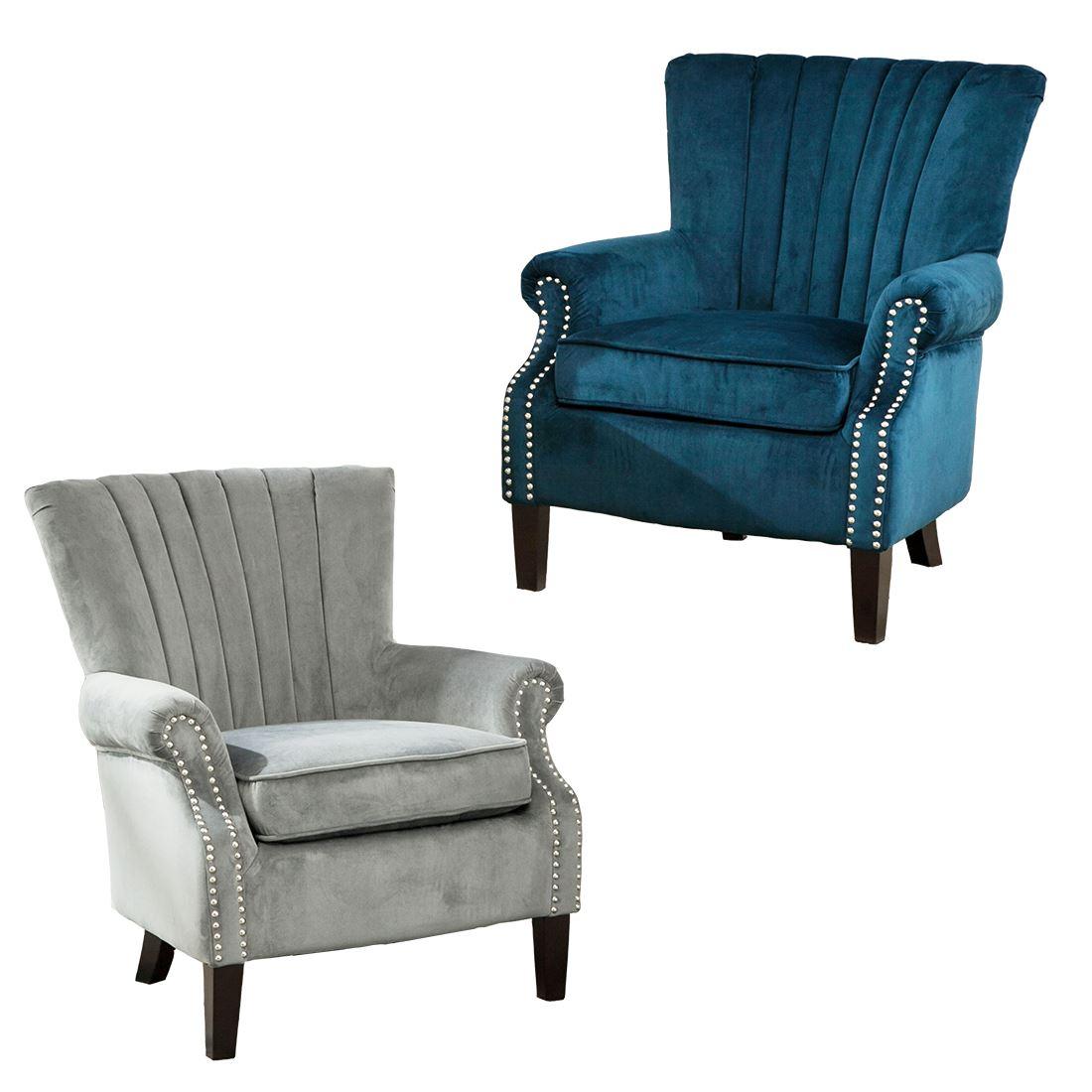 olenka velvet wing back occasional accent bedroom armchair. Black Bedroom Furniture Sets. Home Design Ideas