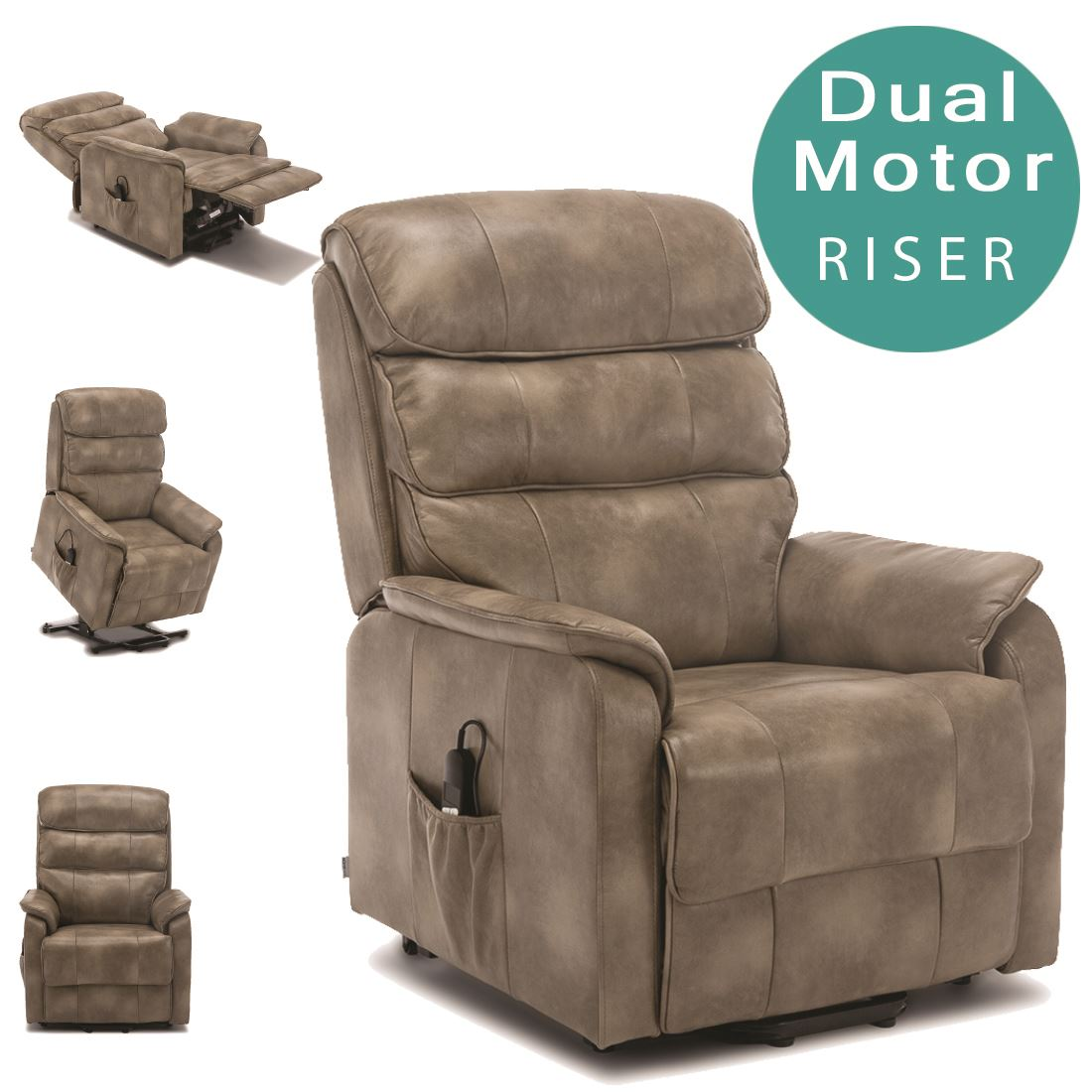 Buckingham Dual Motor Electric Riser Recliner Bond Leather