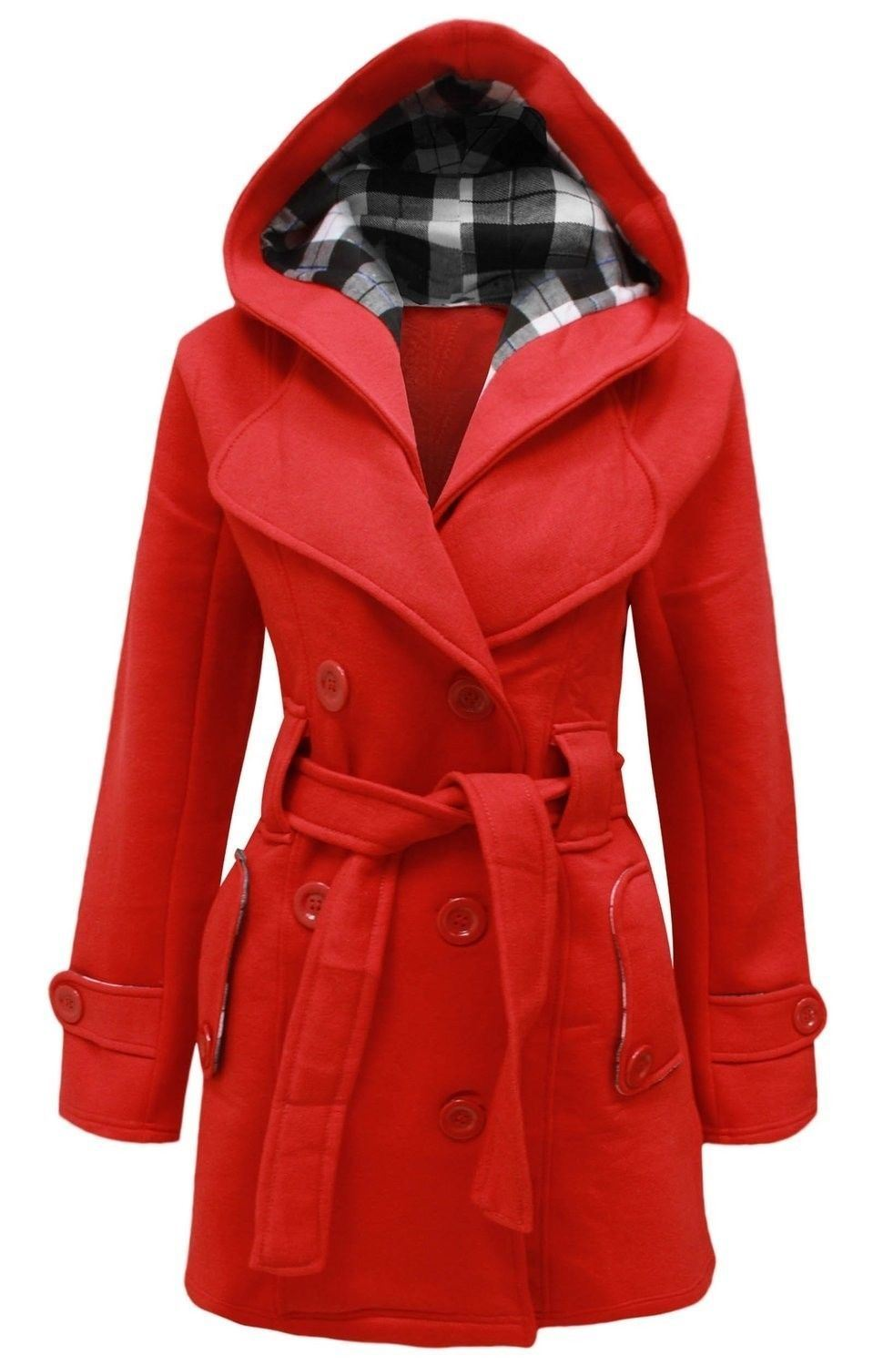 matching in colour huge sale most fashionable Details about Ladies Belted Long Coat Womens Girls Winter Hooded Warm  Jacket UK 8-26
