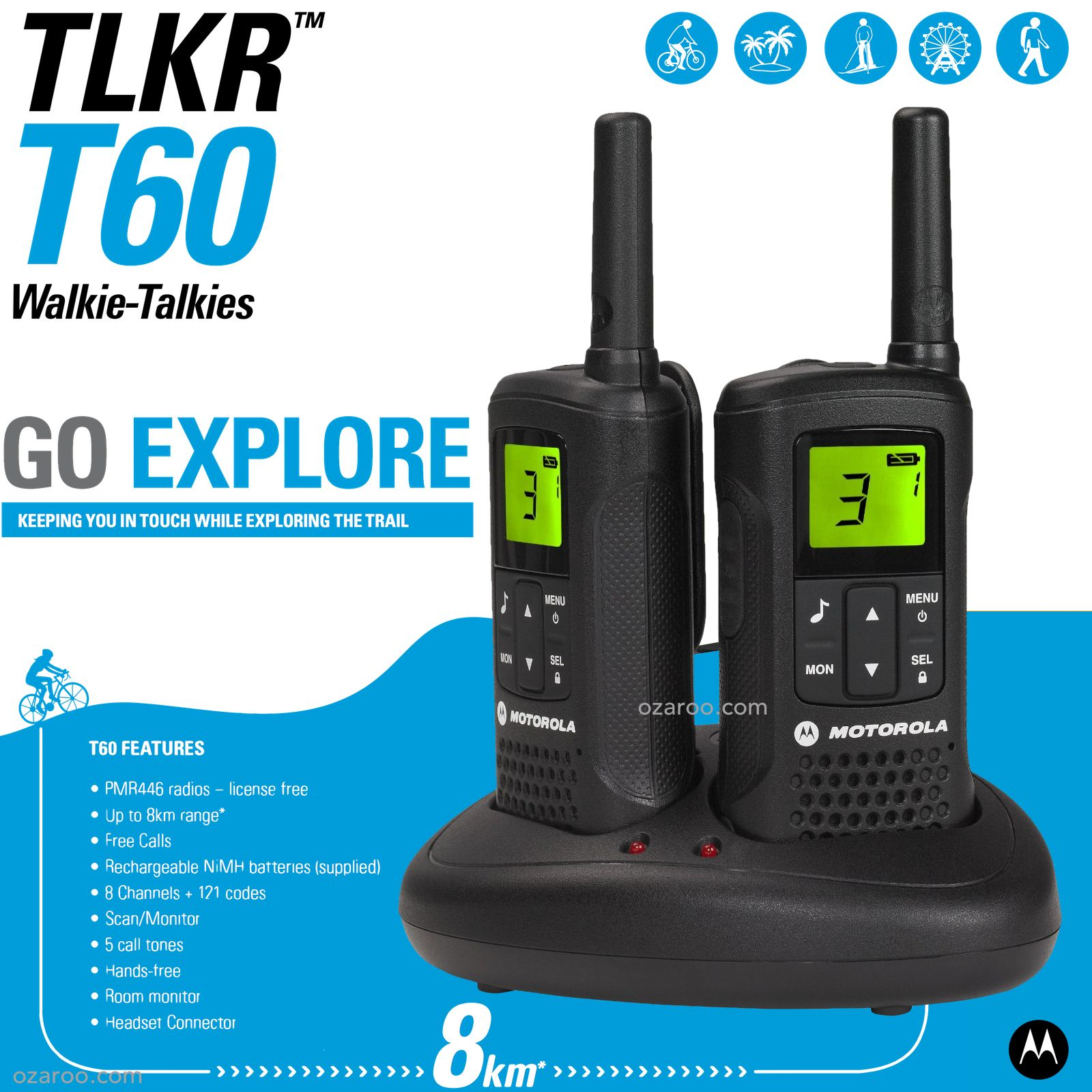 motorola talker tlkr t60 2 way walkie talkie 8km pmr 446 radio 2 pack black t60 5031753006228 ebay. Black Bedroom Furniture Sets. Home Design Ideas