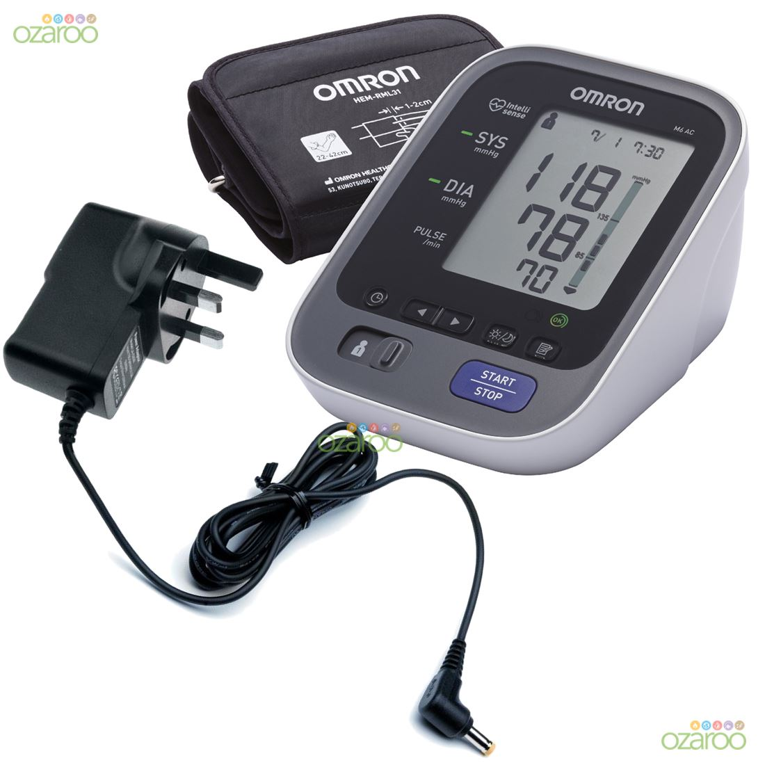 omron m6 ac me automatic upper arm blood pressure monitor with uk adaptor plug ebay. Black Bedroom Furniture Sets. Home Design Ideas