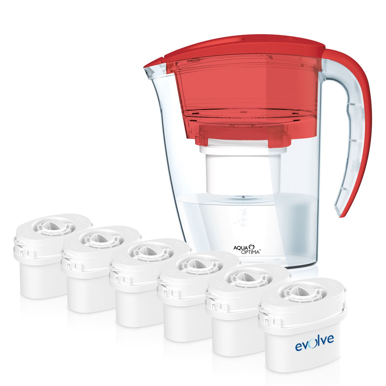 aqua optima red fridge water filter jug 6 refill. Black Bedroom Furniture Sets. Home Design Ideas