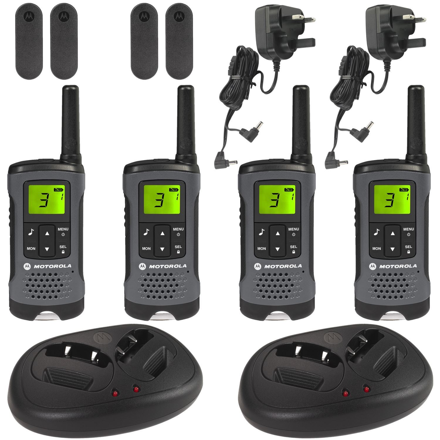 4 motorola tlkr t60z walkie talkie pmr446 rechargeable radio quad pack charger. Black Bedroom Furniture Sets. Home Design Ideas