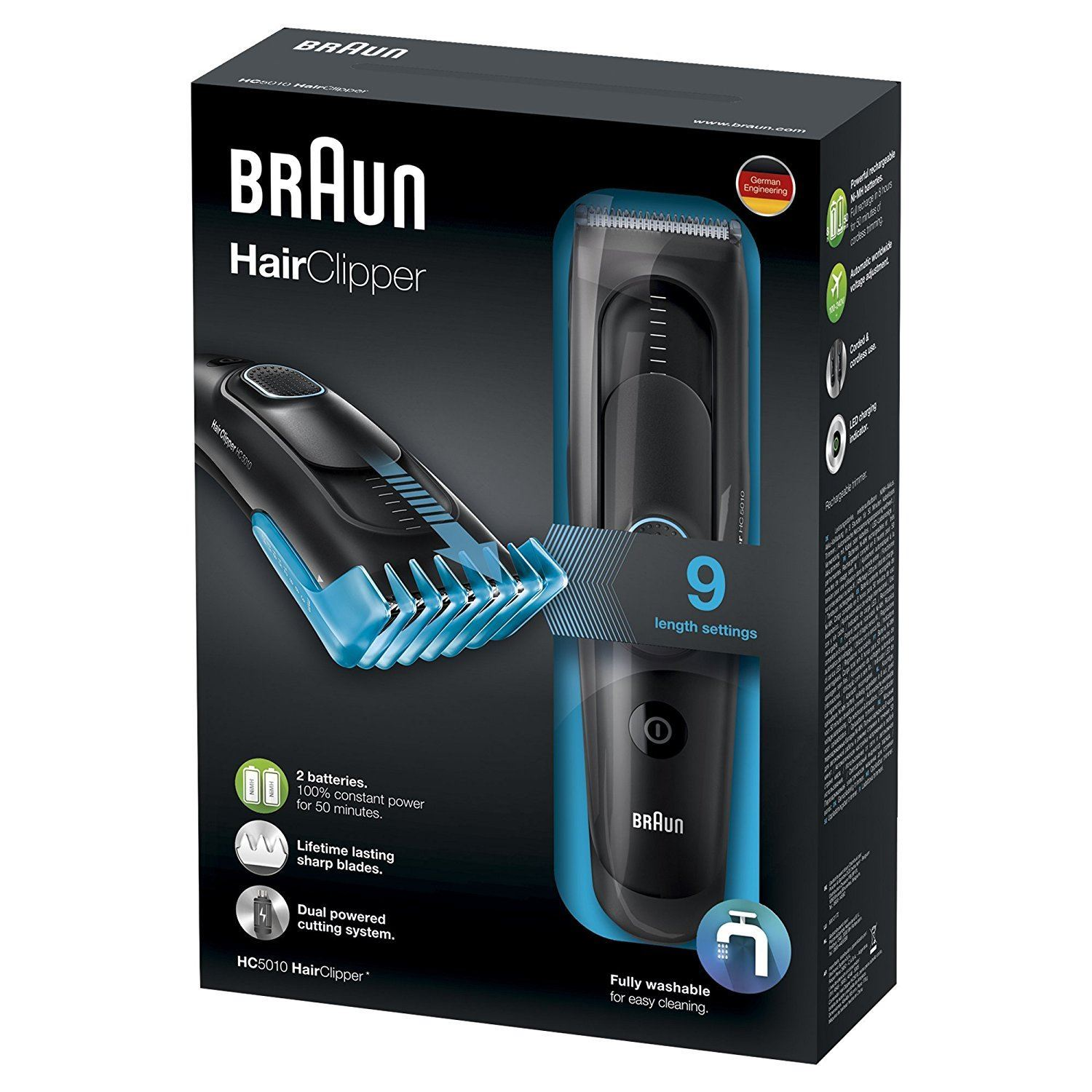 Braun Hc5010 Mens Hair Clipper Cordless Rechargeable