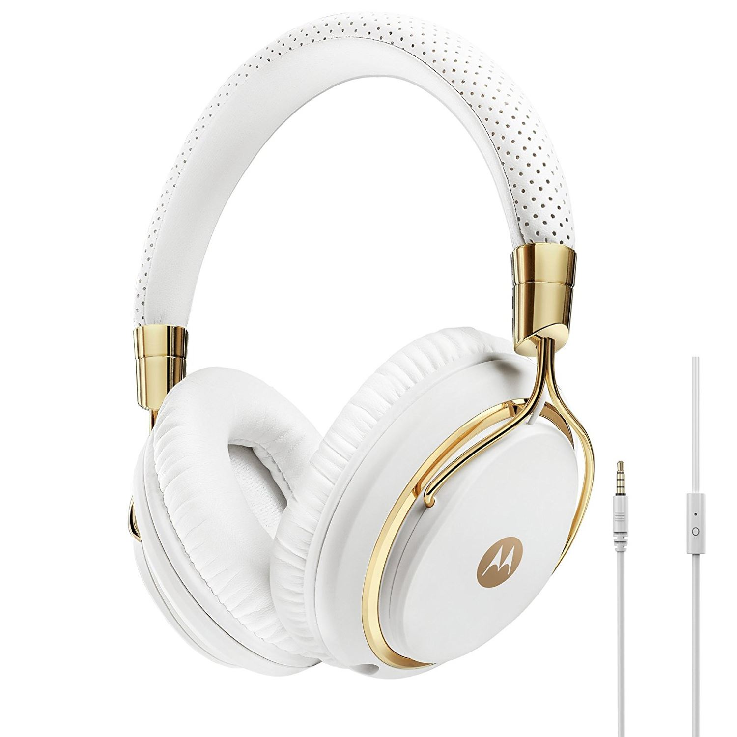motorola pulse max headphones. motorola pulse m series over-ear wired headphone with in-line microphone - white/gold max headphones