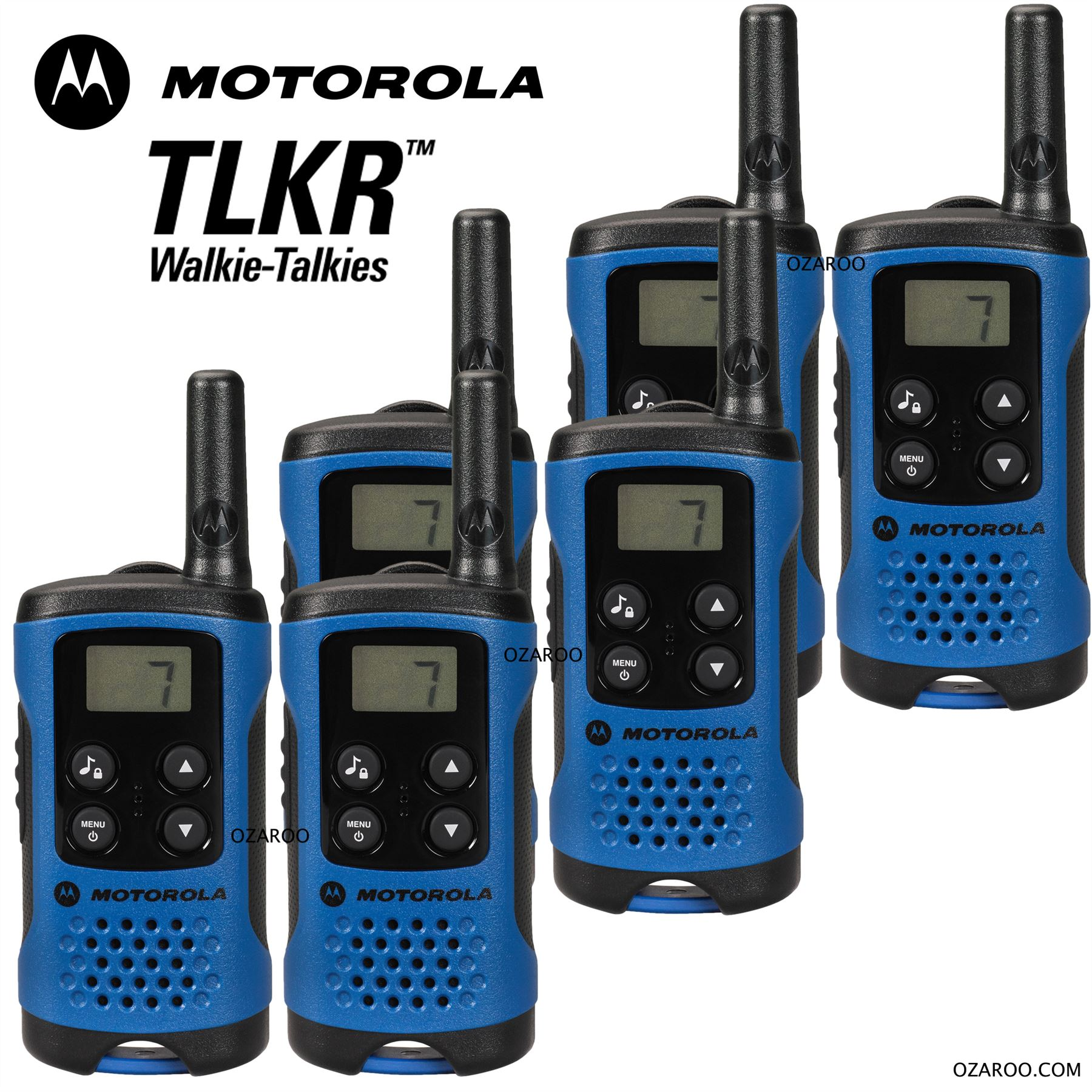 6 x motorola tlkr t41 2 way walkie talkie set pmr 446 radio kit blue six pack ebay. Black Bedroom Furniture Sets. Home Design Ideas