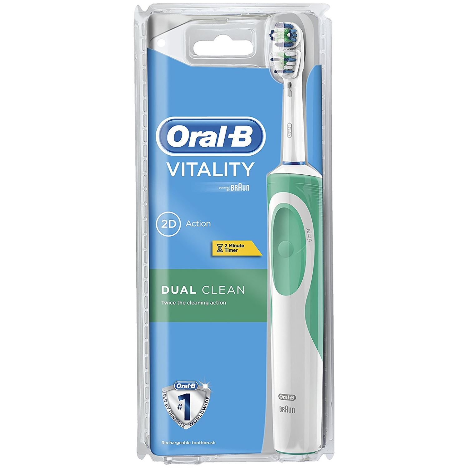 oral b braun vitality dual clean electric rechargeable. Black Bedroom Furniture Sets. Home Design Ideas