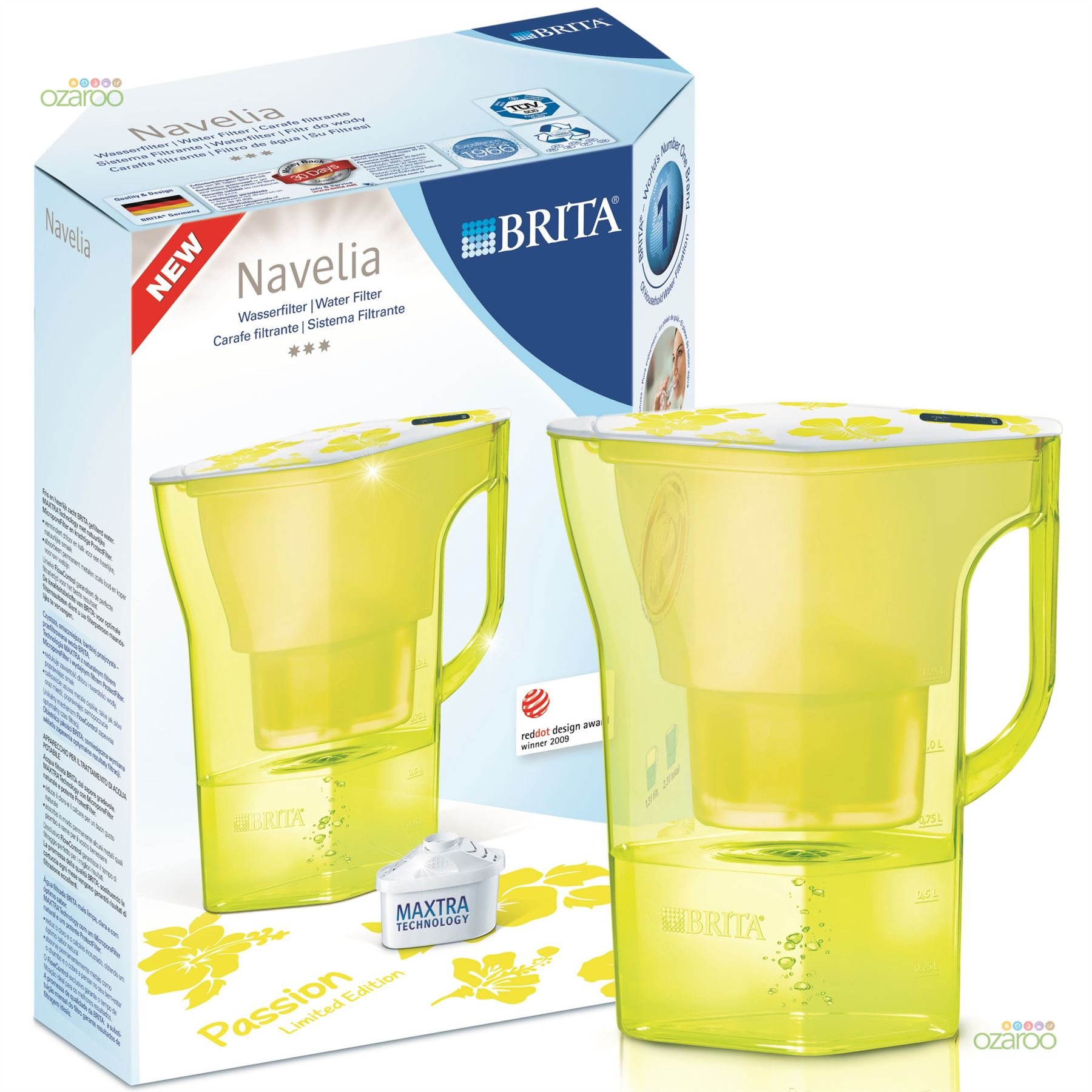brita navelia midnight yellow 2 3l water filter jug 6. Black Bedroom Furniture Sets. Home Design Ideas