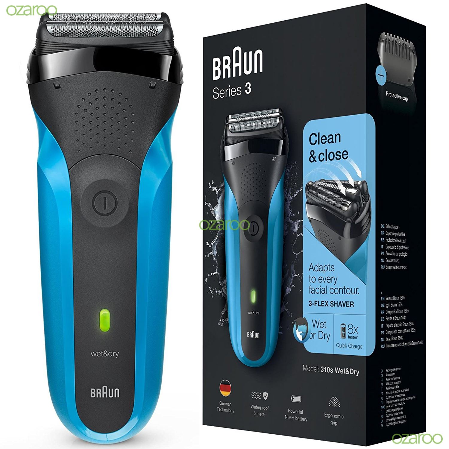 braun series 3 310s mens rechargeable electric face stubble shaver razor wet dry ebay. Black Bedroom Furniture Sets. Home Design Ideas