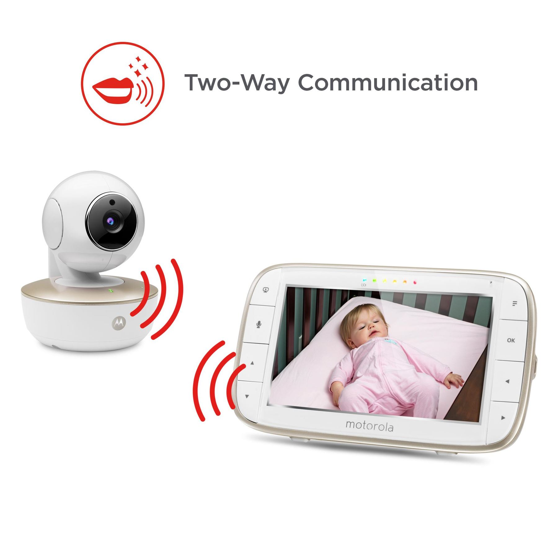 motorola video baby monitor. motorola mbp855 connect video baby monitor with portable wi-fi remote access camera, 5 inch