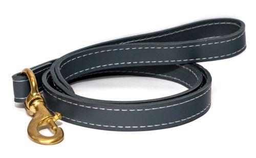 Ralph & Co - Dog Lead Leather Firenze Mist Grey x Size  Thin