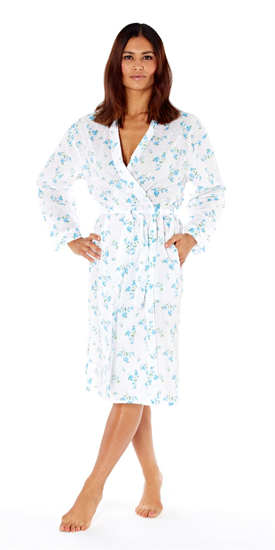 Selena Secrets Womens Robe Julia Kimono Dressing Gown Long Sleeve ...