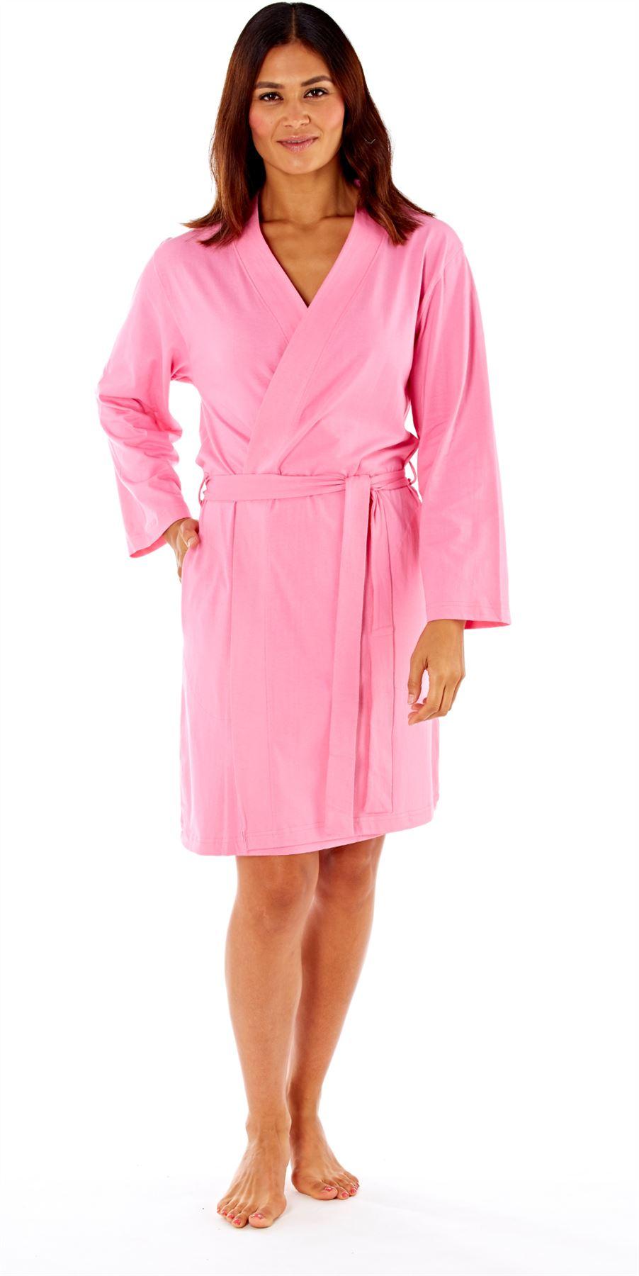 Ladies Womens Robe Soft Jersey Kimono Style Dressing Gown Cotton ...