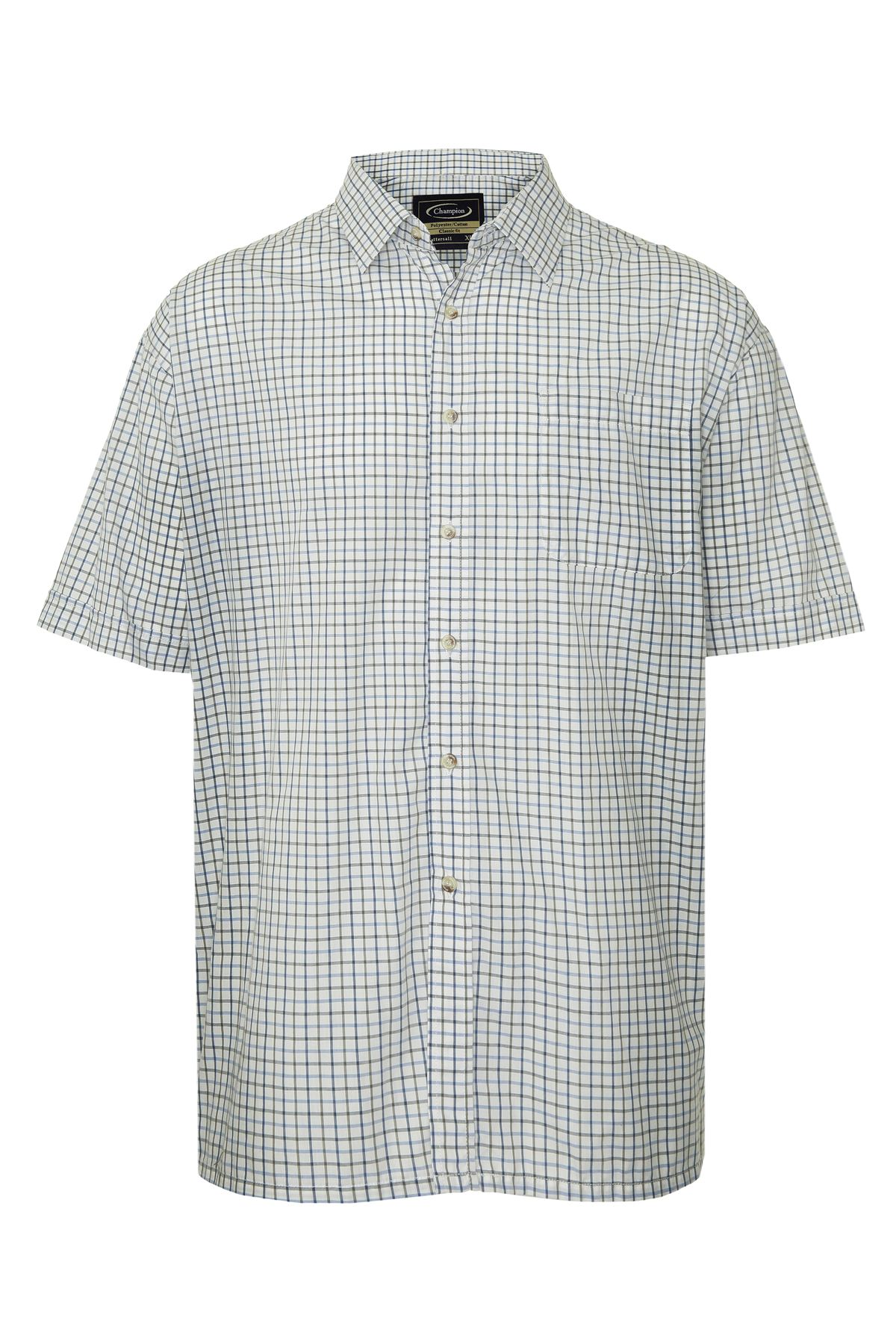 Champion-Mens-Shirt-Check-Short-Sleeve-Polycotton-Country-Casual thumbnail 4