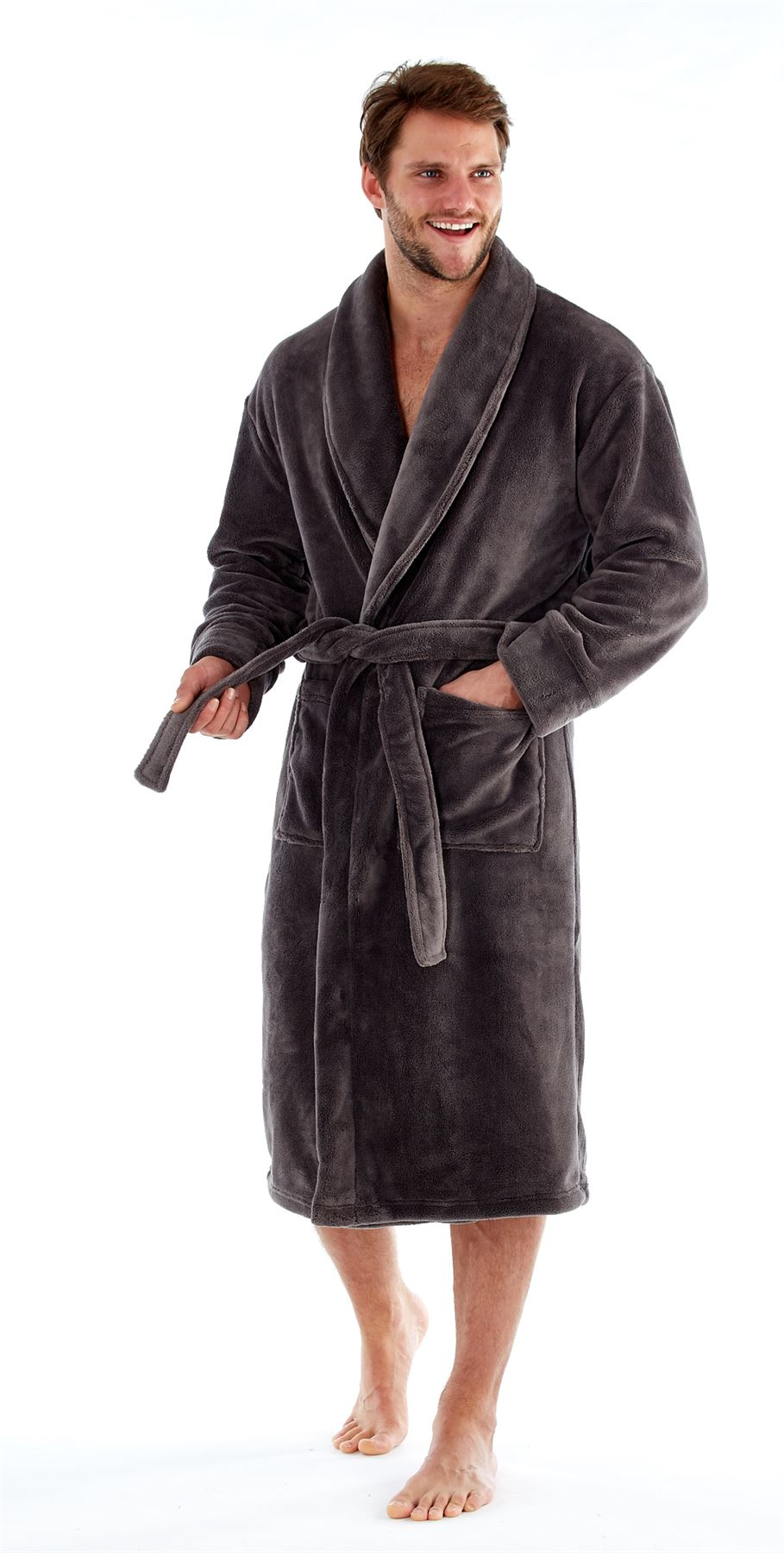 Harvey James Mens Luxury Robe Dressing Gown Fleece Super Soft Belted ...