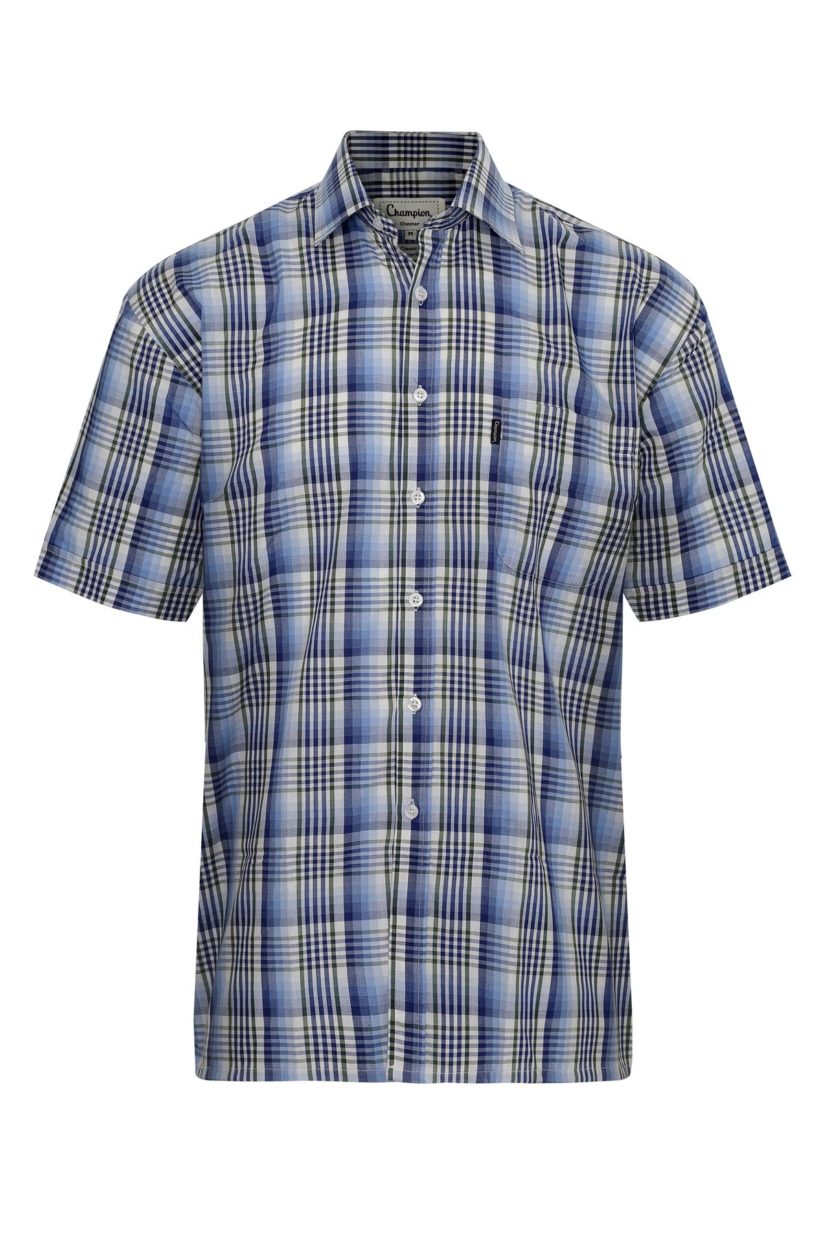 Champion-Mens-Shirt-Check-Short-Sleeve-Polycotton-Country-Casual thumbnail 3