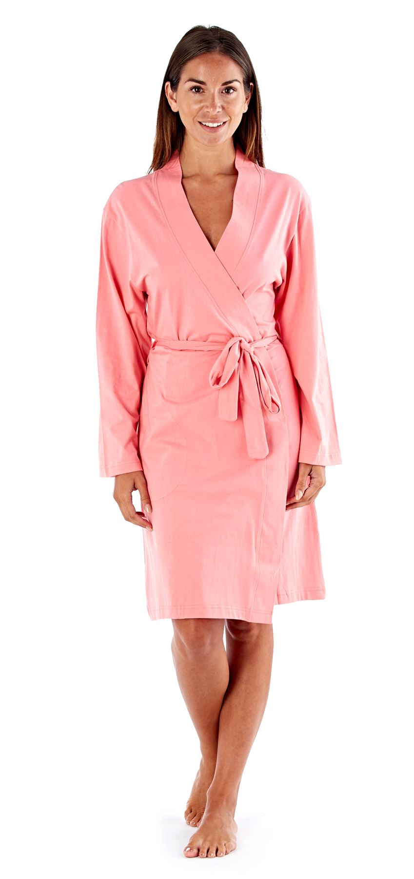 ladies womens robe soft jersey kimono style dressing gown. Black Bedroom Furniture Sets. Home Design Ideas