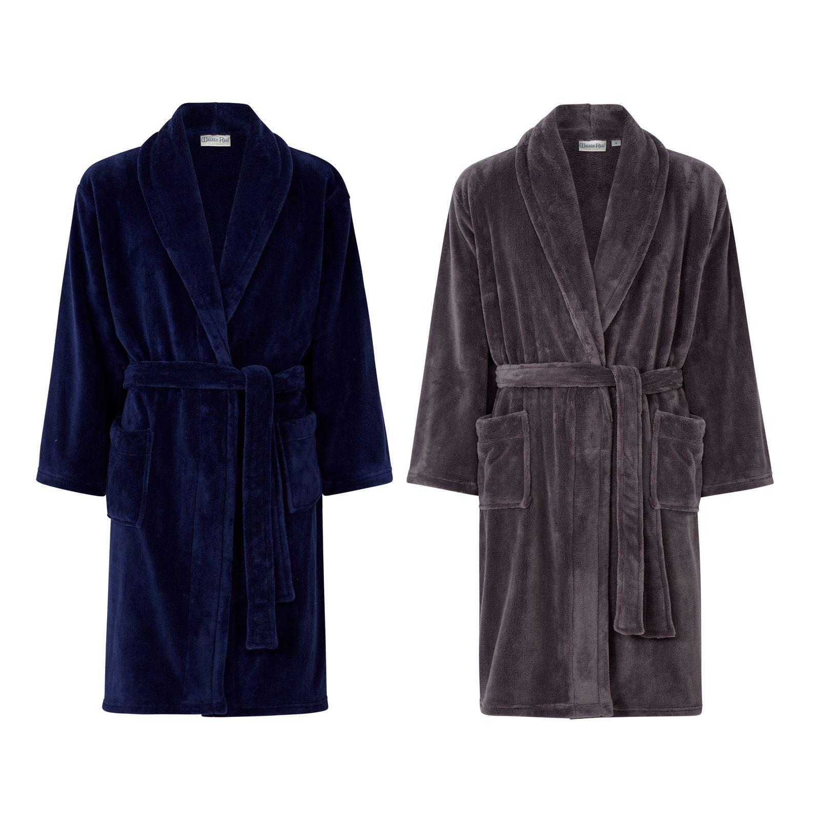 Details about Walker Reid Mens Robe Plain Fleece Dressing Gown 3cc7bbccf