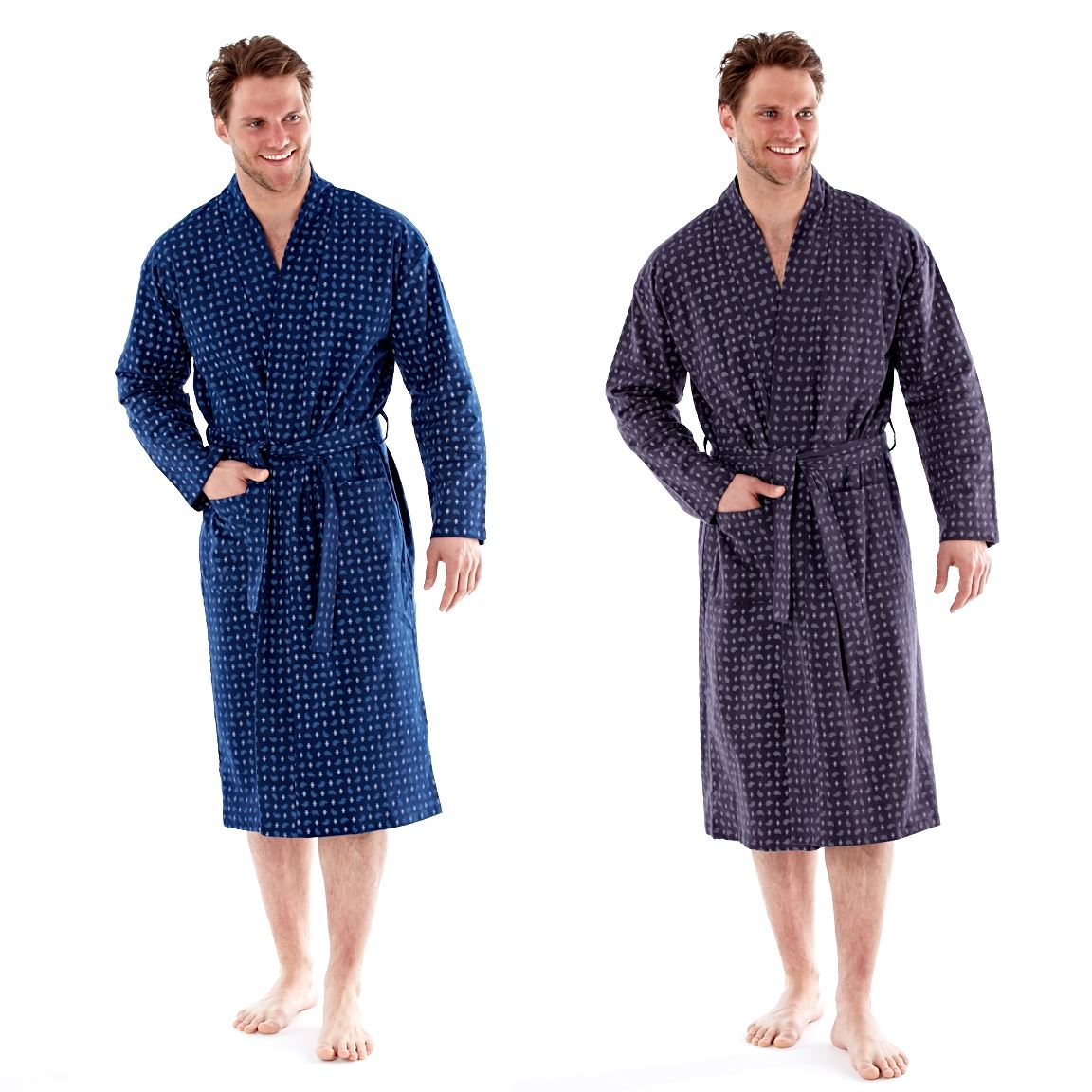 Mens Robe Paisley Lounging Dressing Gown With Belt Brushed Cotton ...