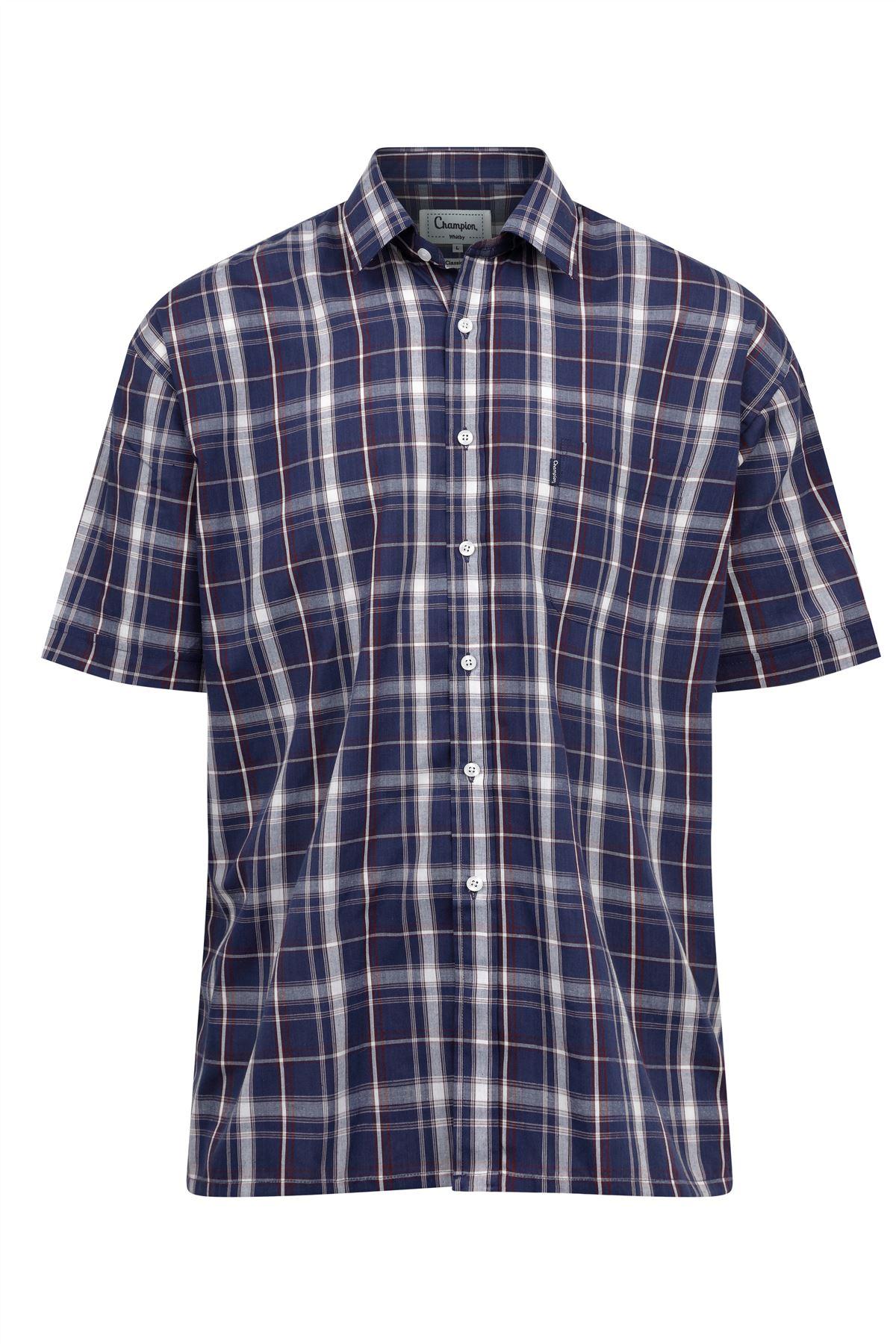 Champion-Mens-Shirt-Check-Short-Sleeve-Polycotton-Country-Casual thumbnail 8