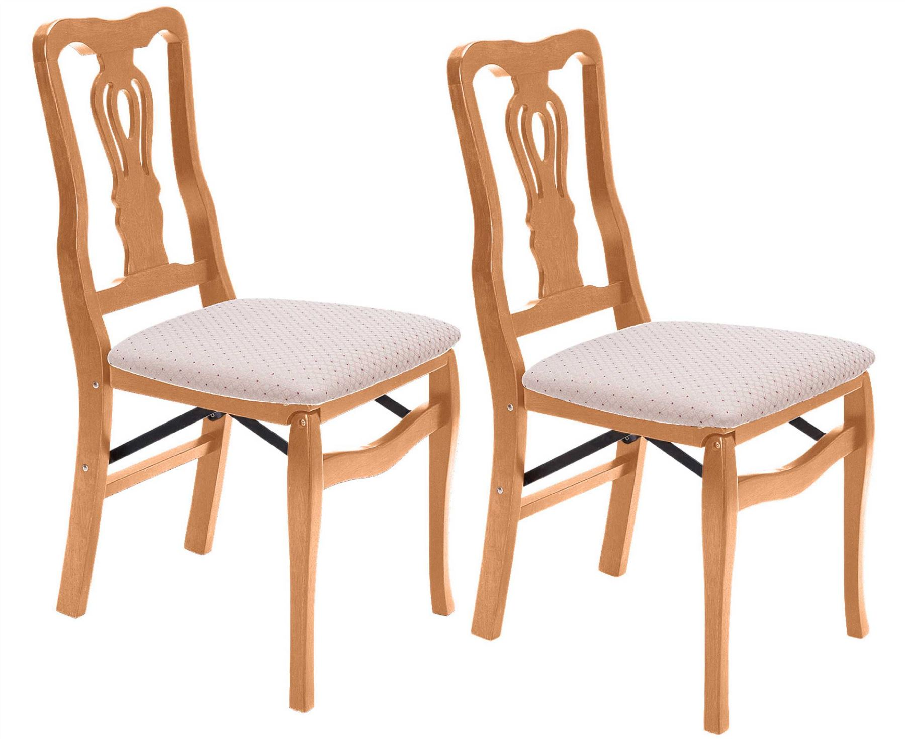 Chippendale Folding Dining Chairs Solid Hardwood Cushioned Seat