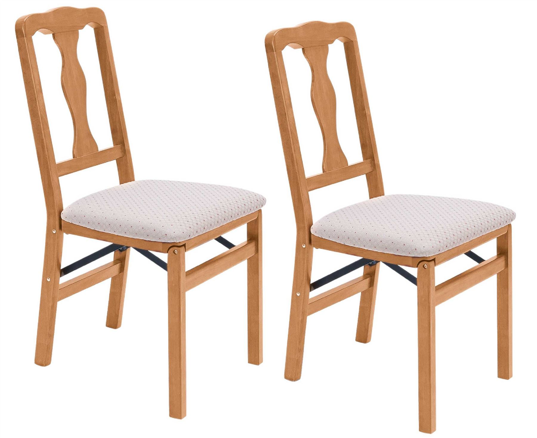 dining room folding chairs | Queen Anne Folding Dining Chairs 2pcs Solid Hardwood Frame ...