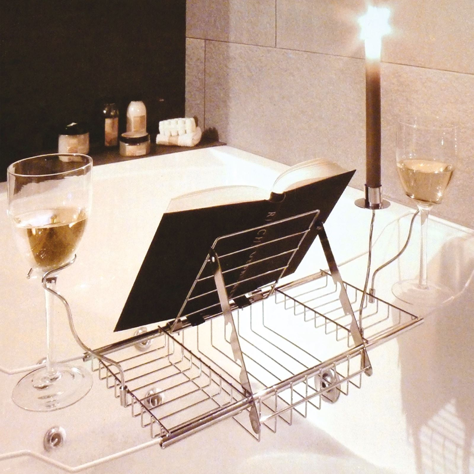 Adjustable Bath Rack Book Stand Bathtub Shelf Tray Glass Holder | eBay