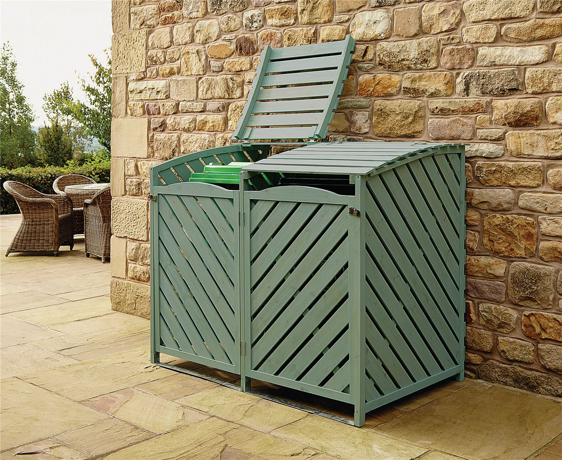 double wheelie bin store outdoor cover recycling storage