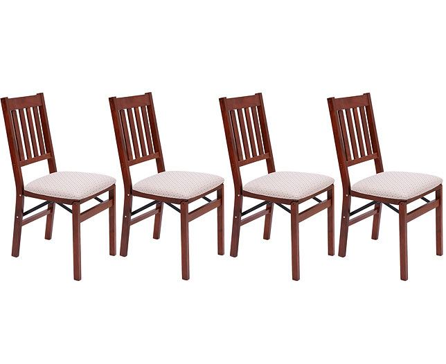 2549a4b81a76 Set of 4 Arts   Crafts Folding Chair Dining Furniture Solid Wood ...