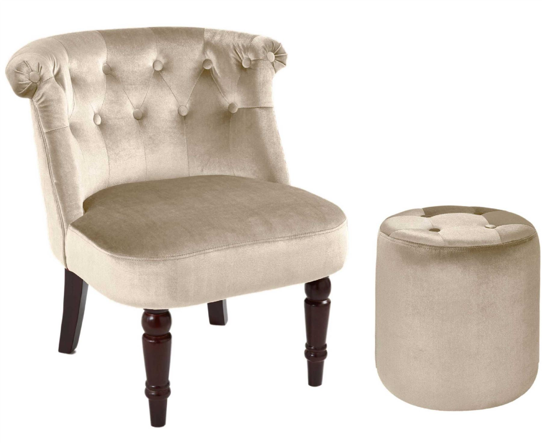 Chairs For Bad Backs Home: Buttoned Back Chair Footstool Bedroom Home Living Room