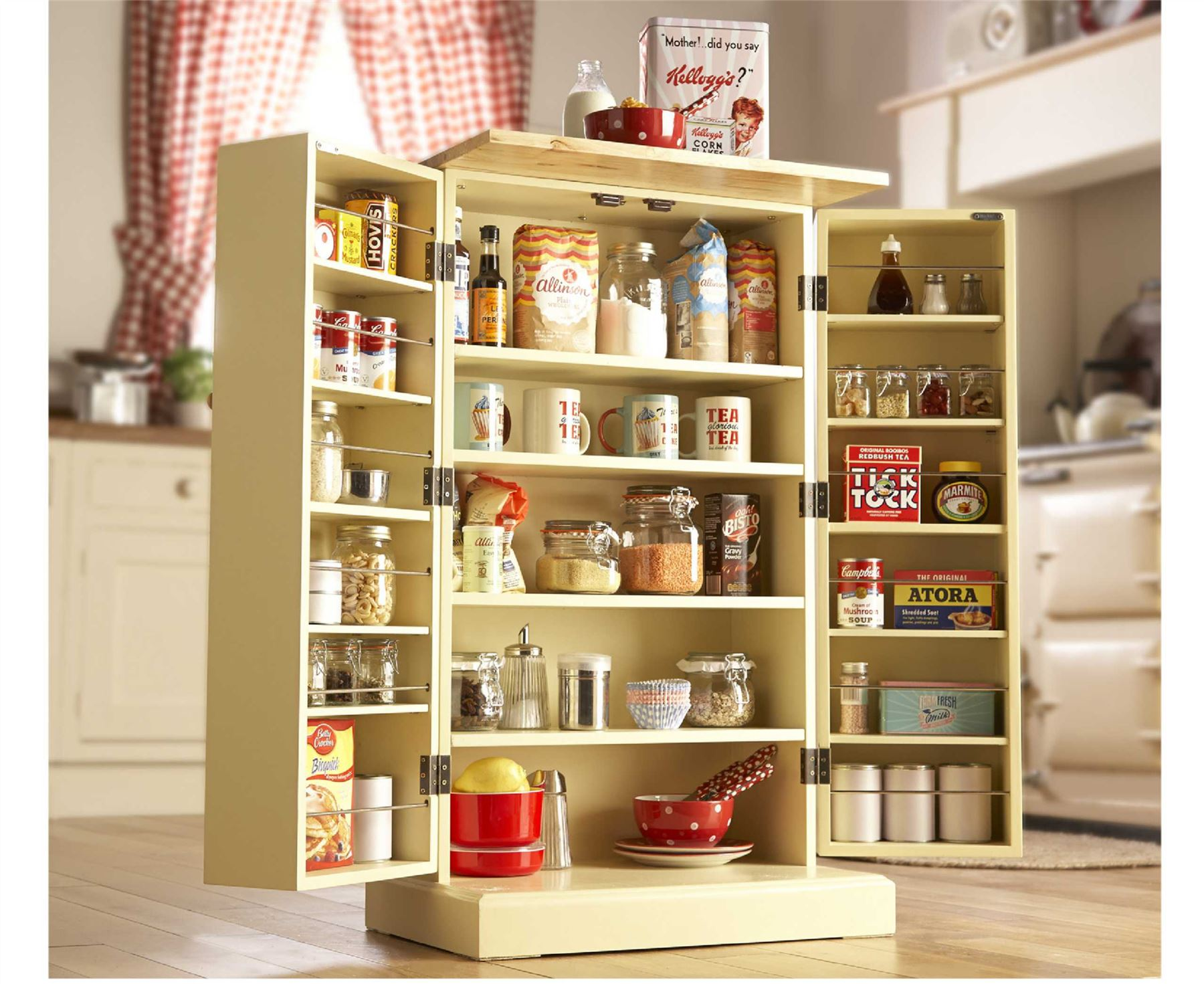 Freestanding Larder Wooden Cupboard Buttermilk Kitchen ...
