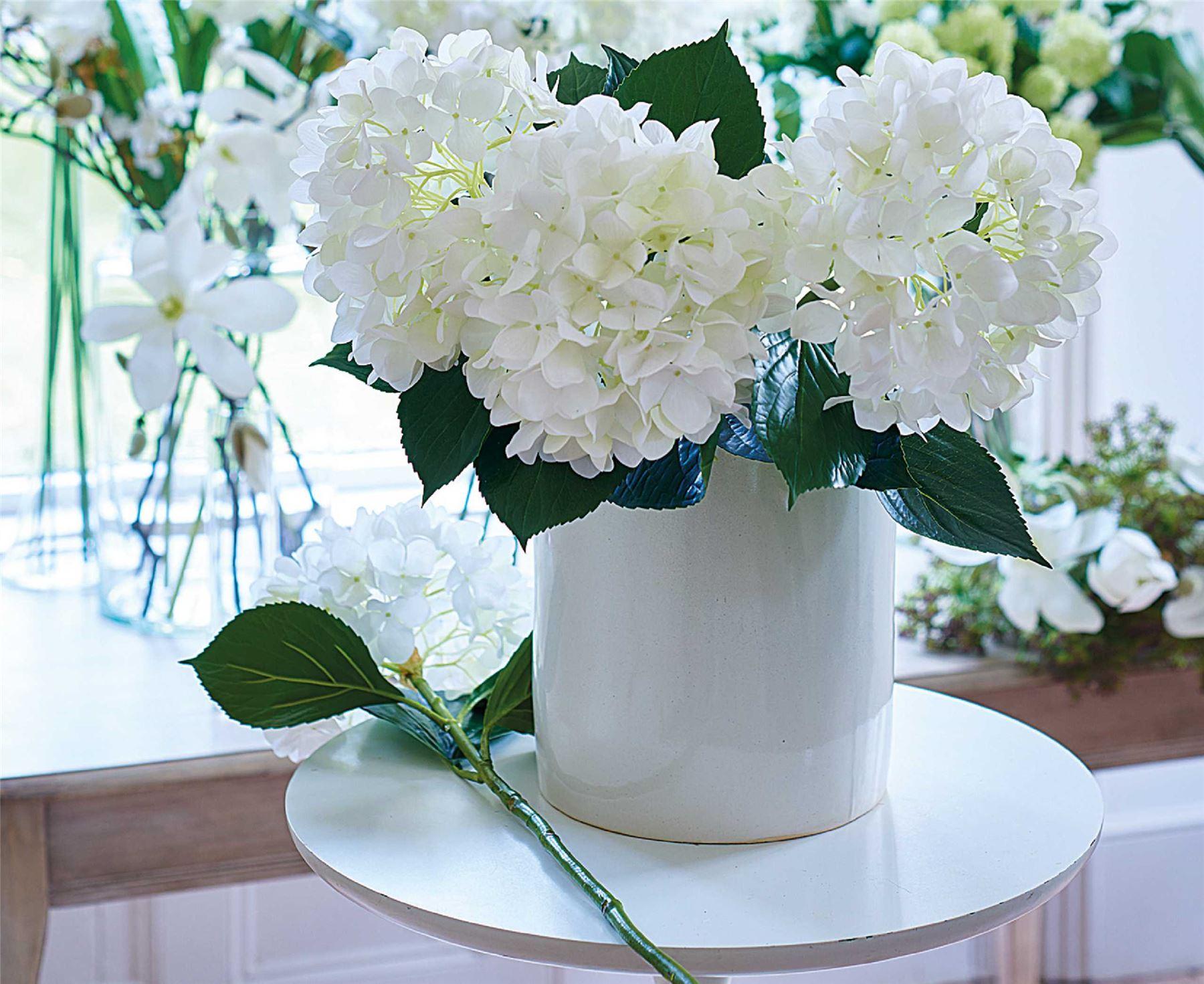Bloom single white hydrangea stem artificial silk flower