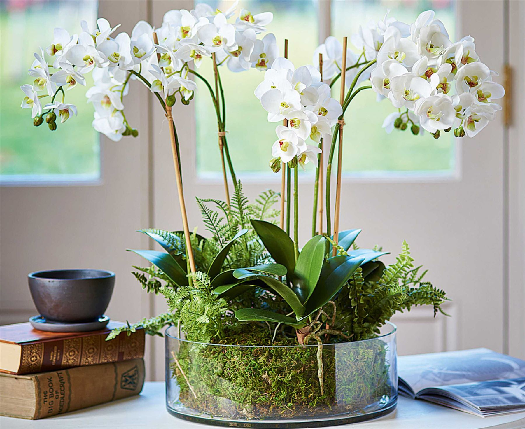 Bloom Orchid Fern Garden Arrangement Artificial Flower