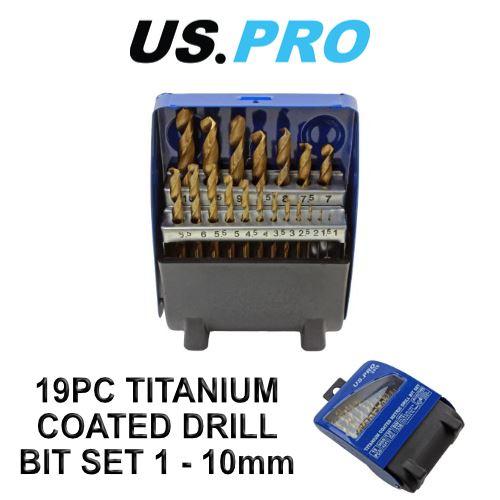 US PRO 19pc HSS Titanium Coated Metric Drill Bit Set 1-10mm 2410
