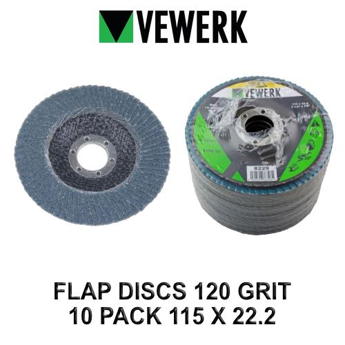 VEWERK Flap Discs 120 Grit Zirconium 115 X 22.2 Pack of 10 8229