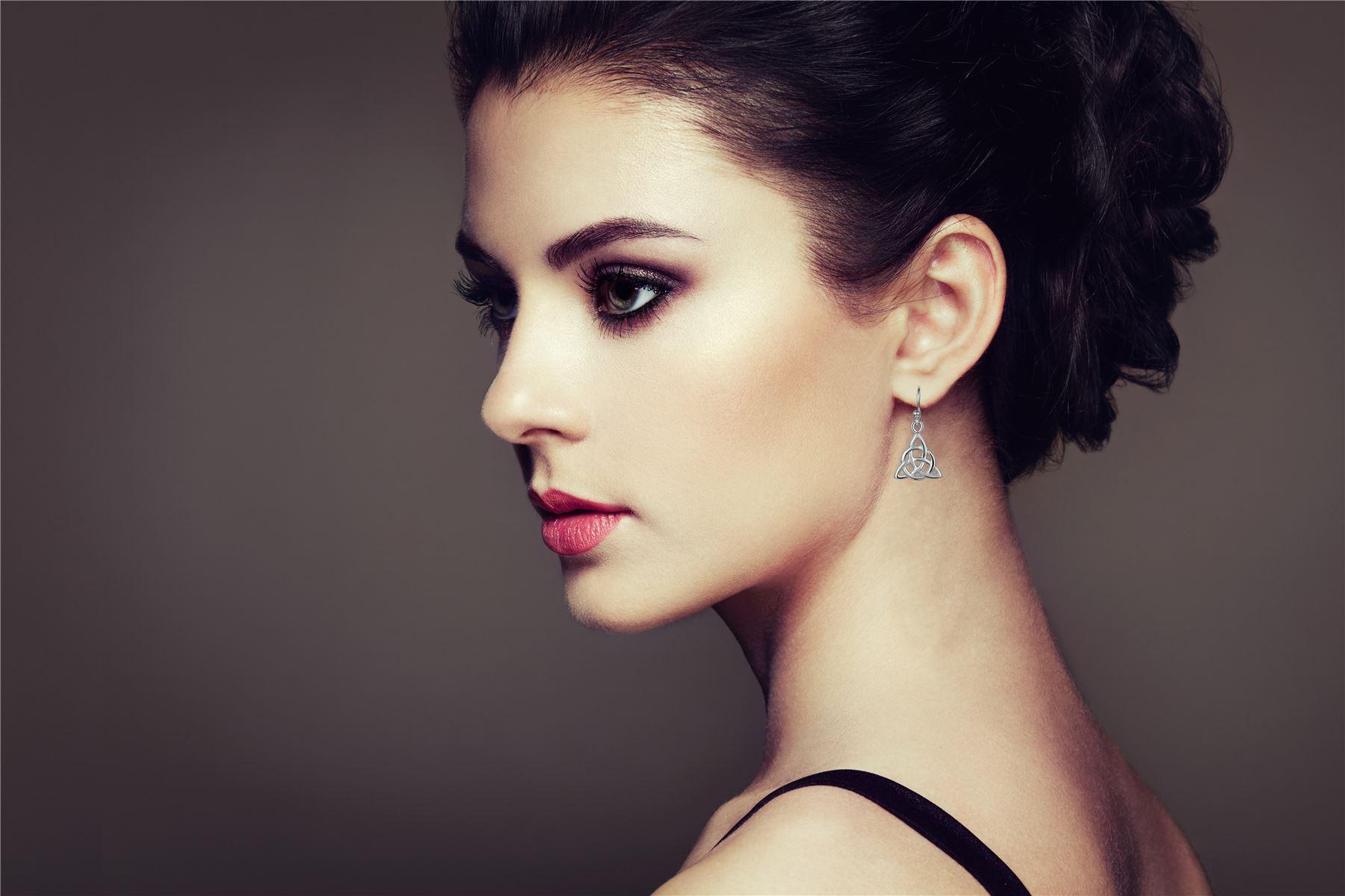 Amberta-925-Sterling-Silver-Celtic-Knot-Earrings-for-Women-Irish-Design miniature 17